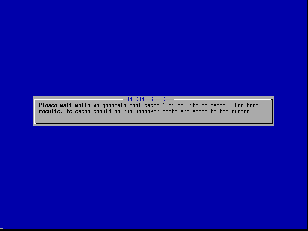 Image: the installer writes the fonts' cache